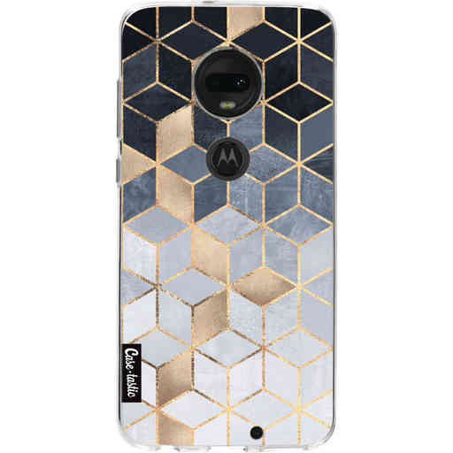 Casetastic Softcover Motorola Moto G7 / G7 Plus - Soft Blue Gradient Cubes