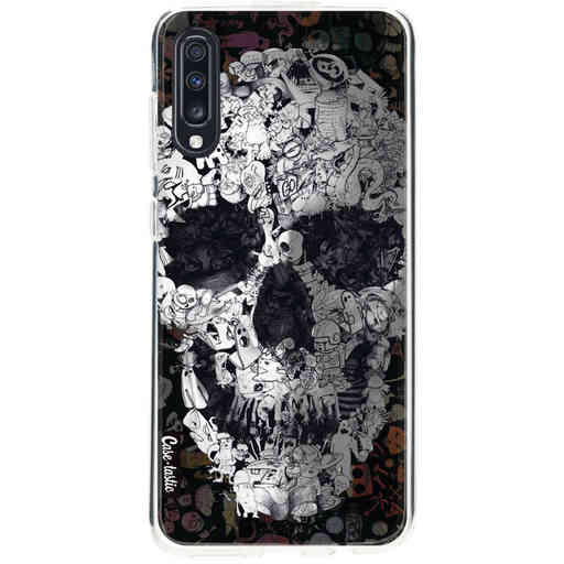 Casetastic Softcover Samsung Galaxy A70 - Doodle Skull BW