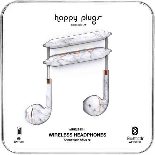 Happy Plugs Wireless II White Marble