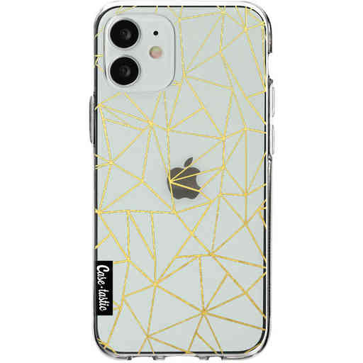 Casetastic Softcover Apple iPhone 12 Mini - Abstraction Outline Gold Transparent