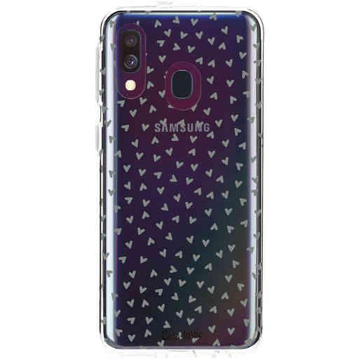 Casetastic Softcover Samsung Galaxy A40 (2019) - Green Hearts Transparant