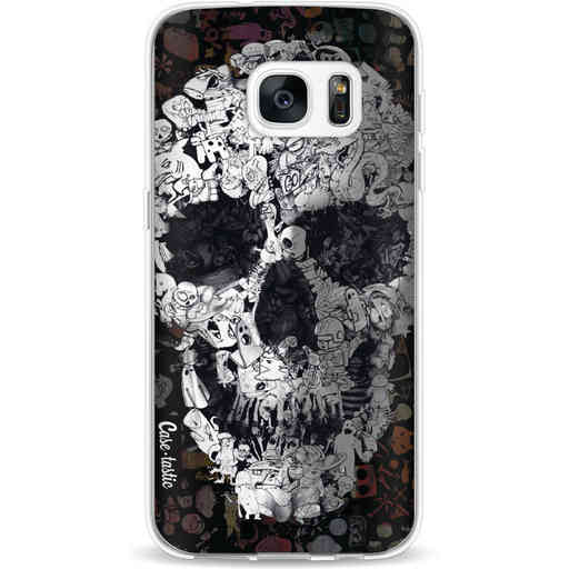 Casetastic Softcover Samsung Galaxy S7 - Doodle Skull BW