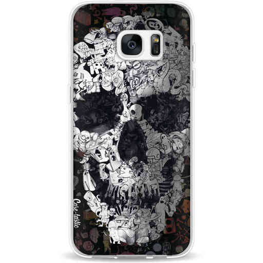 Casetastic Softcover Samsung Galaxy S7 Edge - Doodle Skull BW