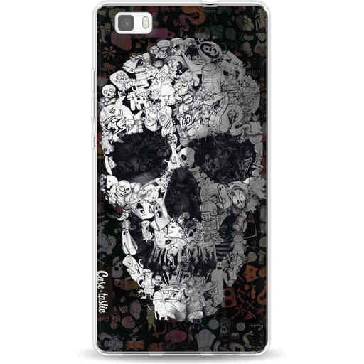 Casetastic Softcover Huawei P8 Lite - Doodle Skull BW