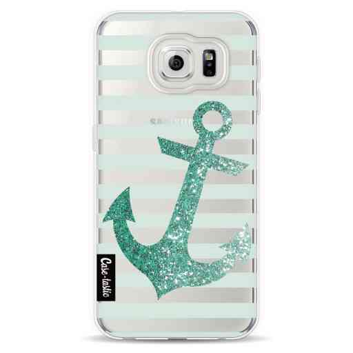 Casetastic Softcover Samsung Galaxy S6  - Glitter Anchor Mint