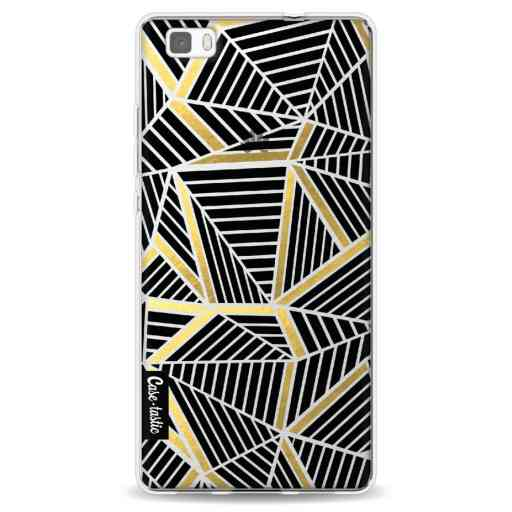 Casetastic Softcover Huawei P8 Lite - Abstraction Lines Black Gold Transparent