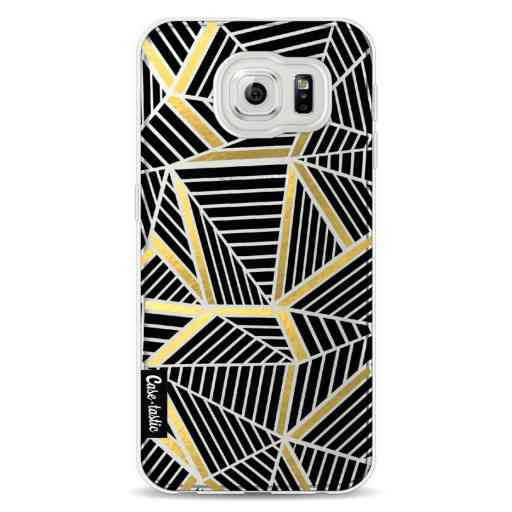 Casetastic Softcover Samsung Galaxy S6 - Abstraction Lines Black Gold Transparent