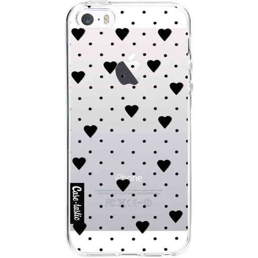 Casetastic Softcover Apple iPhone 5 / 5s / SE - Pin Point Hearts Black Transparent