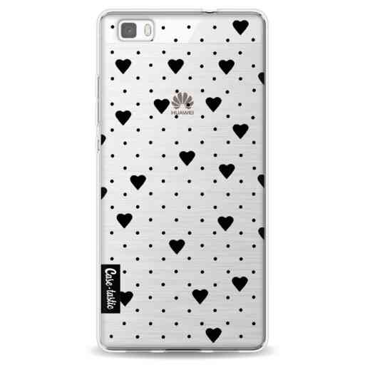 Casetastic Softcover Huawei P8 Lite - Pin Point Hearts Black Transparent