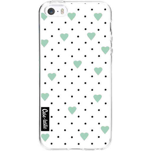 Casetastic Softcover Apple iPhone 5 / 5s / SE - Pin Point Hearts Mint
