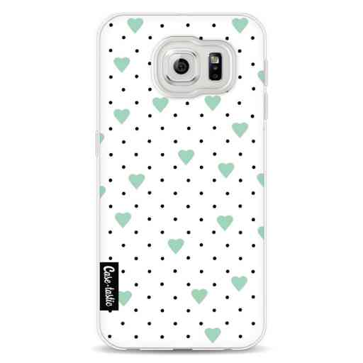 Casetastic Softcover Samsung Galaxy S6 - Pin Point Hearts Mint