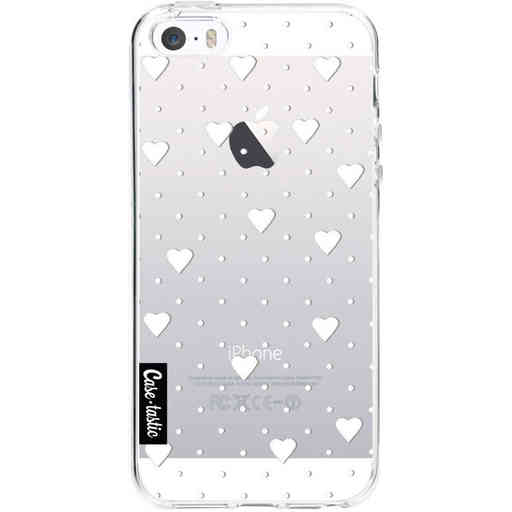 Casetastic Softcover Apple iPhone 5 / 5s / SE - Pin Point Hearts White Transparent