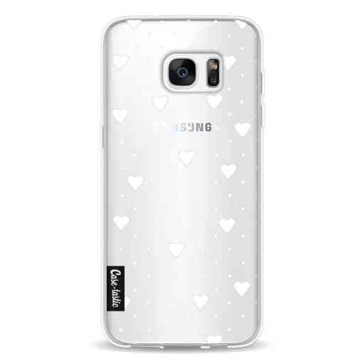 Casetastic Softcover Samsung Galaxy S7 Edge - Pin Point Hearts White Transparent