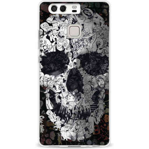 Casetastic Softcover Huawei P9 - Doodle Skull BW