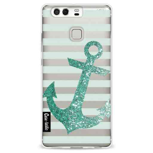 Casetastic Softcover Huawei P9 - Glitter Anchor Mint