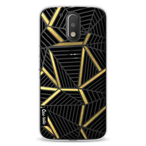 Casetastic Softcover Motorola Moto G4 / G4 Plus - Abstraction Lines Black Gold Transparent