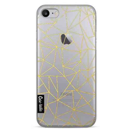 Casetastic Softcover Apple iPhone 7 / 8 / SE (2020) - Abstraction Outline Gold Transparent