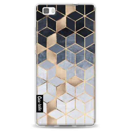 Casetastic Softcover Huawei P8 Lite (2015) - Soft Blue Gradient Cubes