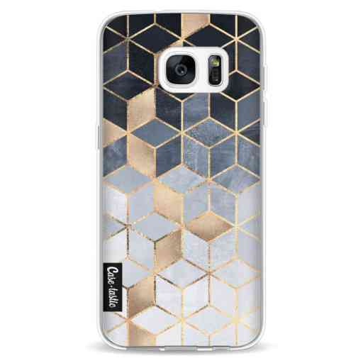 Casetastic Softcover Samsung Galaxy S7 - Soft Blue Gradient Cubes