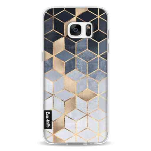 Casetastic Softcover Samsung Galaxy S7 Edge - Soft Blue Gradient Cubes