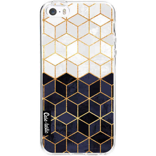 Casetastic Softcover Apple iPhone 5 / 5s / SE - White and Navy Cubes
