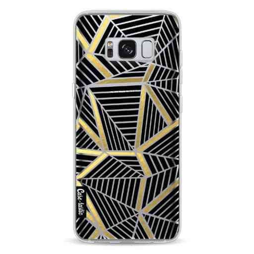 Casetastic Softcover Samsung Galaxy S8 - Abstraction Lines Black Gold Transparent
