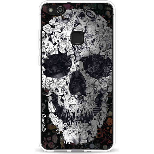 Casetastic Softcover Huawei P10 Lite - Doodle Skull BW