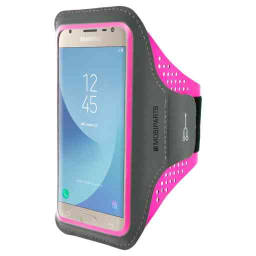 Casetastic Comfort Fit Sport Armband Samsung Galaxy J3 (2017) Neon Pink