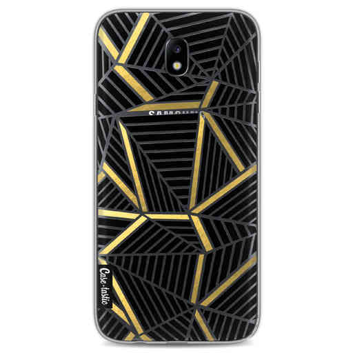 Casetastic Softcover Samsung Galaxy J7 (2017) - Abstraction Lines Black Gold Transparent