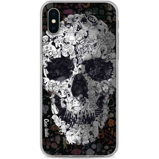 Casetastic Softcover Apple iPhone X / XS - Doodle Skull BW