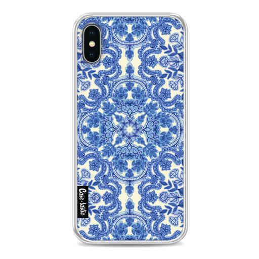 Casetastic Softcover Apple iPhone X / XS - Blue White Folk Art