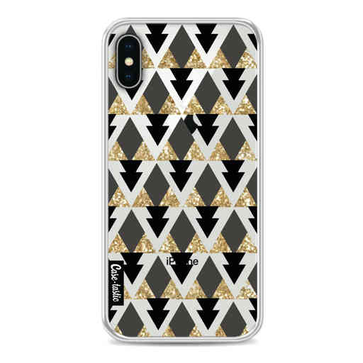 Casetastic Softcover Apple iPhone X / XS - Gold Black Triangles