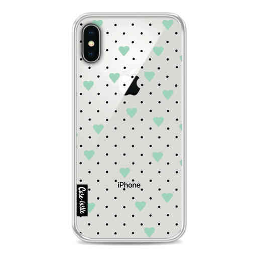 Casetastic Softcover Apple iPhone X / XS - Pin Point Hearts Mint Transparent