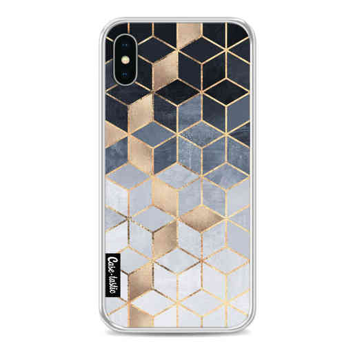 Casetastic Softcover Apple iPhone X / XS - Soft Blue Gradient Cubes