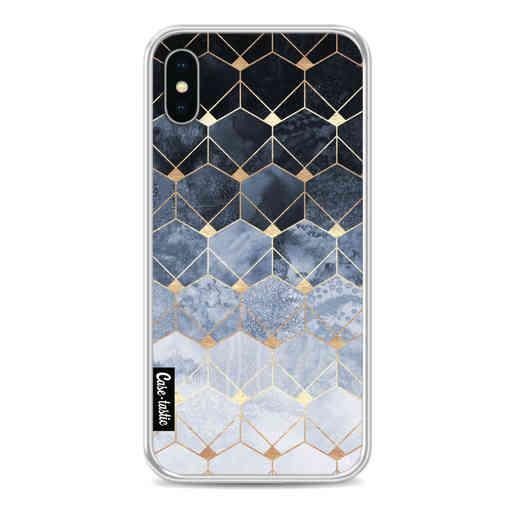 Casetastic Softcover Apple iPhone X / XS - Blue Hexagon Diamonds