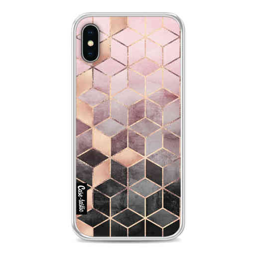 Casetastic Softcover Apple iPhone X / XS - Soft Pink Gradient Cubes