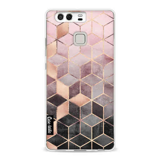 Casetastic Softcover Huawei P9 - Soft Pink Gradient Cubes