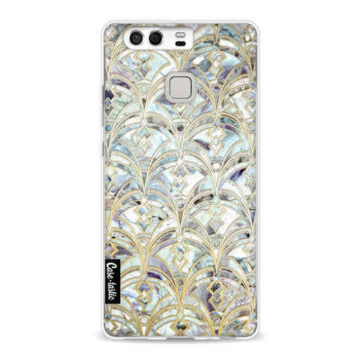 Casetastic Softcover Huawei P9 - Mint Art Deco Marbling