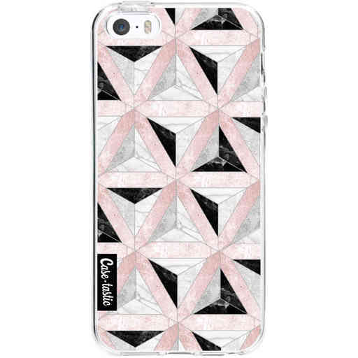 Casetastic Softcover Apple iPhone 5 / 5s / SE - Marble Triangle Blocks Pink