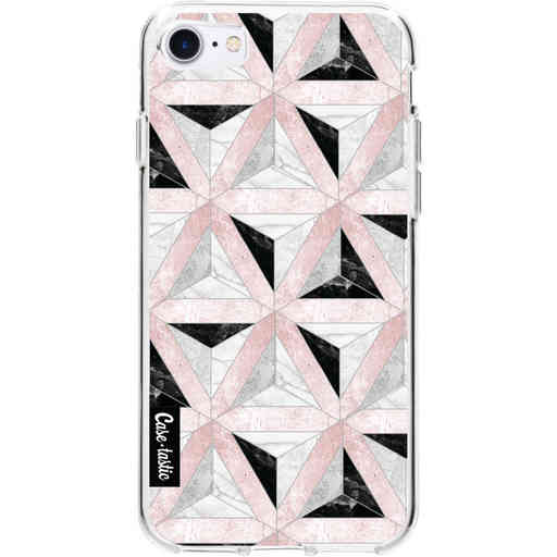 Casetastic Softcover Apple iPhone 7 / 8 / SE (2020) - Marble Triangle Blocks Pink