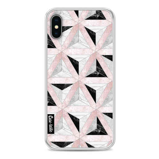 Casetastic Softcover Apple iPhone X / XS - Marble Triangle Blocks Pink