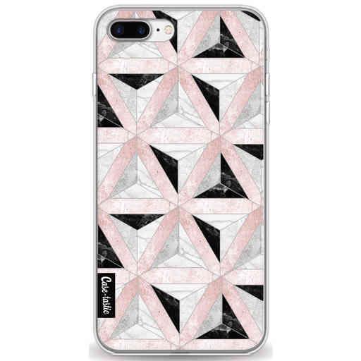 Casetastic Softcover Apple iPhone 7 Plus / 8 Plus - Marble Triangle Blocks Pink