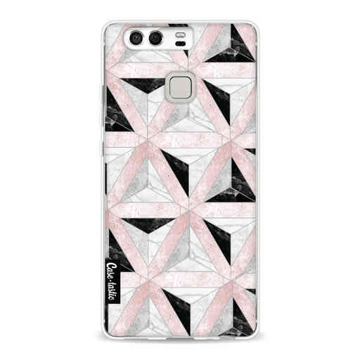Casetastic Softcover Huawei P9 - Marble Triangle Blocks Pink