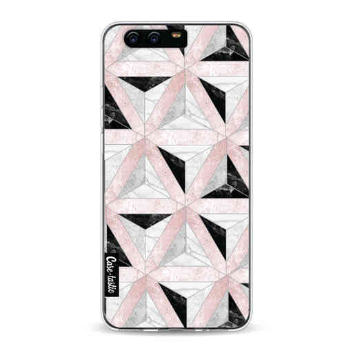 Casetastic Softcover Huawei P10 - Marble Triangle Blocks Pink