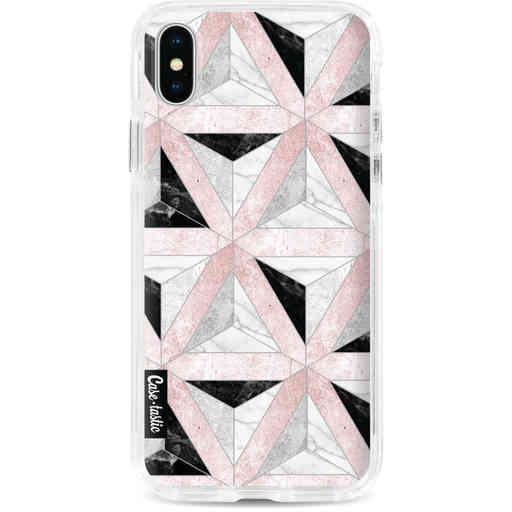 Casetastic Dual Snap Case Apple iPhone X / XS - Marble Triangle Blocks Pink