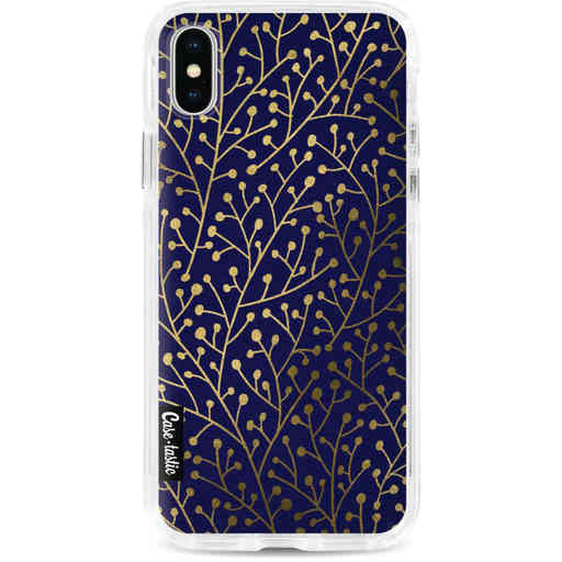 Casetastic Dual Snap Case Apple iPhone X / XS - Berry Branches Navy Gold