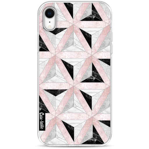 Casetastic Softcover Apple iPhone XR - Marble Triangle Blocks Pink