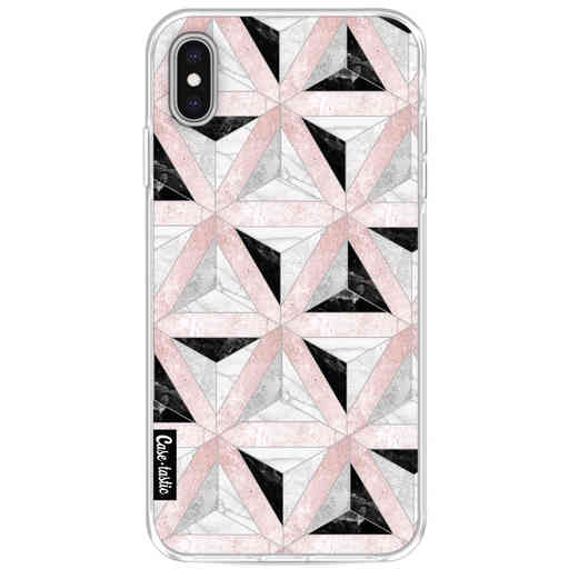 Casetastic Softcover Apple iPhone XS Max - Marble Triangle Blocks Pink