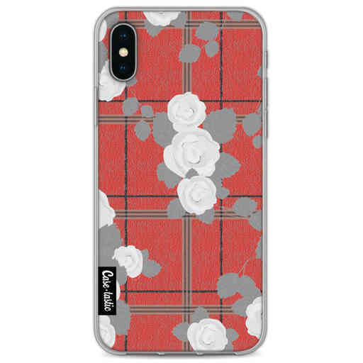 Casetastic Softcover Apple iPhone X / XS - Flower Tartan Red