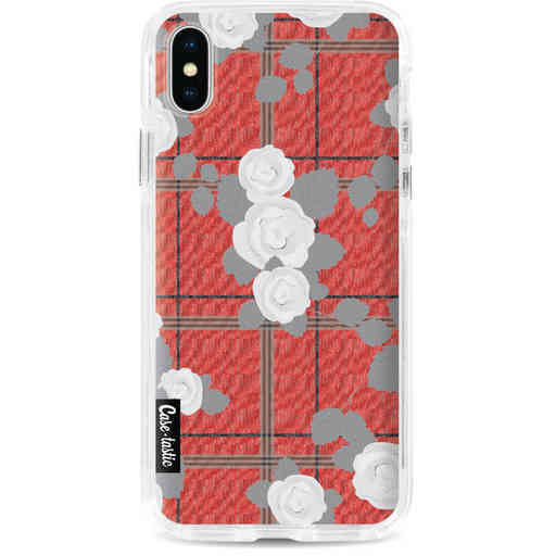 Casetastic Dual Snap Case Apple iPhone X / XS - Flower Tartan Red